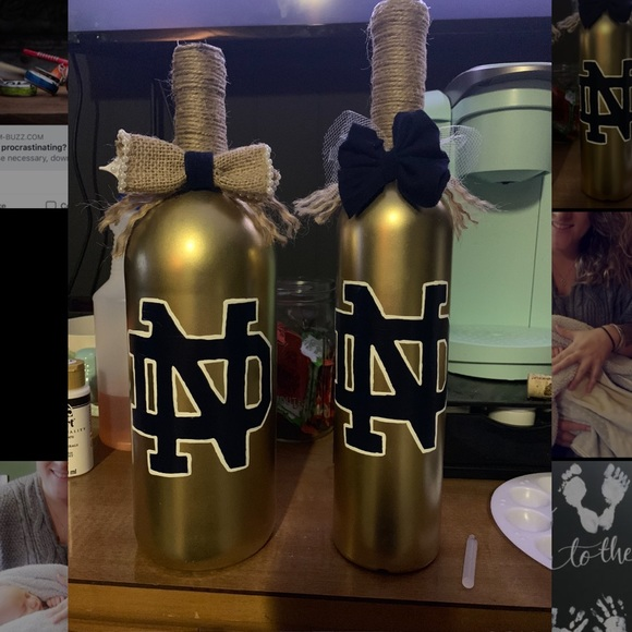 Drunky Girl Creations Other - Sports team handpainted wine bottles